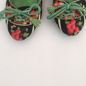 Anthropologie Shoes - L By Miss L-Fire green black floral flats lace up